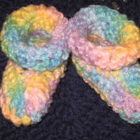 Rainbow Baby Booties 0- 3 months  3-6 mo 6-9 mo Baby Shower Gift, Infant, Ready to Ship, Perfect Photo Prop Other colors at request