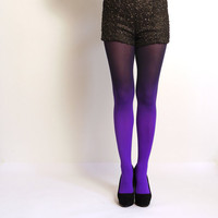 Ombre tights Violet and Black  hand dyed opaque tights by xsilk