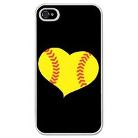 Softball iPhone Case Softball Heart Black Background (iPhone 4/4S)