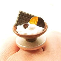 Miniature Food Ring Ice Cream Chocolate by SouZouCreations on Etsy