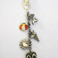 Beach Themed Purse or Hip Charm with Flip Flops, Sun, and Beach Charms