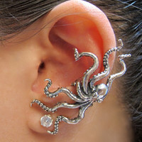 Silver Octopus Ear Cuff