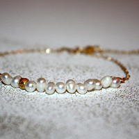 auriga - pearl 14k gold bracelet by lilla stjarna - gifts under 50 - Valentine&#x27;s Day - pearl stacking bracelet - everyday bracelet