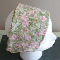 Pink Green Flower Headband, Wide Fashion HairBand, Pink Floral Bandana, Shabby Chic Scarf Headband, Cotton Elastic Headband, Hippie Hairband