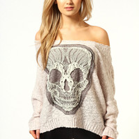 Sara Popcorn Batwing Knit With Skull Motif