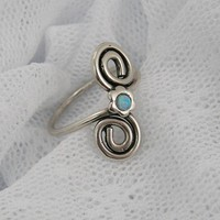 Sterling silver & Opal flower spirals  ring (sr-9907)