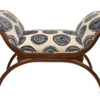 One Kings Lane - Agostino - English Regency Bench, Blue/White