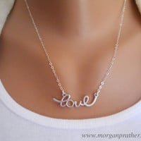 Cursive Love Necklace in Silver - Perfect Gift - Dainty Love Pendant Suspended on Sterling Silver Chain - morganprather