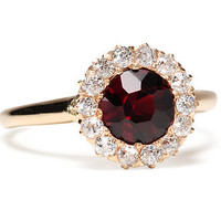 Antique Garnet & Diamond Cluster Ring - The Three Graces