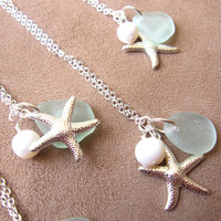 Seaglass Starfish Neckalce with swarovski pearl - Perfect Necklace for Bridesmaids in Beach Wedding - FREE SHIPPING