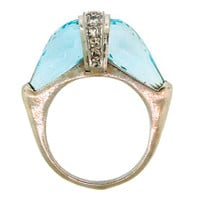 1STDIBS.COM Jewelry & Watches - Unknown - Aquamarine, Diamond  Platinum Ring - Nadine Krakov Collection