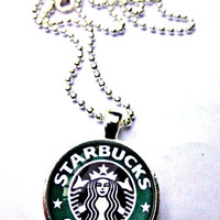 Starbucks necklace glass pendant necklace. 1 inch round pendant. Glass photo pendant. Metal bezel. Coffee necklace.