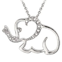 Sterling Silver Diamond Accented Elephant Necklace 18&quot;
