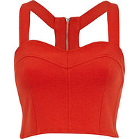 Red scuba zip bralet