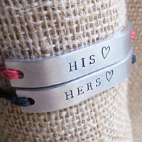 Set of 2 His and Hers Bracelets Friendship HEART by AlwaysAMemory