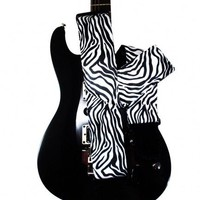 Zebra Animal Print Guitar Strap Black and White Custom Handmade