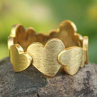 Gold plated heart ring - Much Love - NOVICA