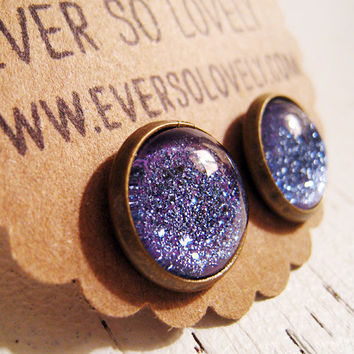purple starry skies - blue violet metallic sparkly round earrings by eversolovely
