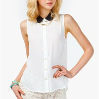 A'GACI Contrast Collar Sleeveless Blouse - TOPS