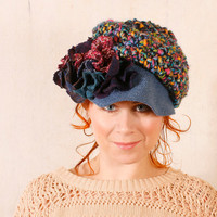 Woman newsboy hat Blue crochet hat Blue floral hat Woman winter hat Woman wool hat Woman crochet hat Chunky hat Crochet newsboy hat