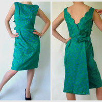 Vintage Wiggle Dress Green & Blue Brocade ALine by ItchforKitsch