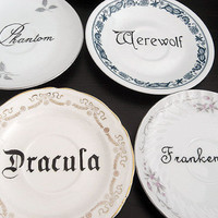 Decorative Plates - Classic Monsters - Set of 5 - Dracula - Werewolf - Unique Gift