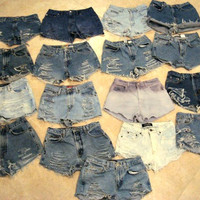 Custom Made High Waisted Denim Shorts Jean Shorts by shortyshorts