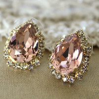 Pink Crystal big teardrop stud earring  14k plated gold by iloniti