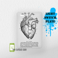 Light Switch Plate Cover - Metal Cover 5 x 3.5 inches - Anatomical Heart Vintage Medical Chart Switch Cover