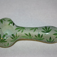 Hand Blown Tobacco Glass Pipe- The Leaf Design