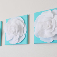 "Tiffany Blue -SET OF THREE White Roses on Bright Aqua Solid 12 x12"" Canvas Wall Art- Home Decor"