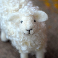 Needle Felted Wool Sheep Sculpture