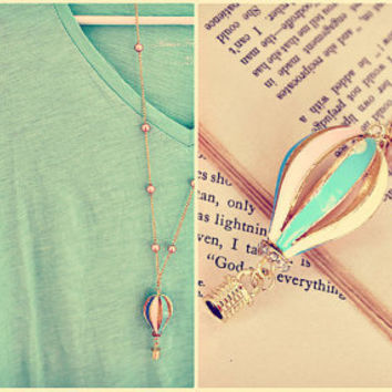 The little hot air balloon. a whimsical & sweet vintage style necklace. long.