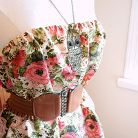 Gabby May. a strapless handmade dress. vintage fabric. roses. floral. boho