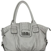 MG Collection Brenna Metal Studded Soft Leather Shopper Hobo, Grey, One Size