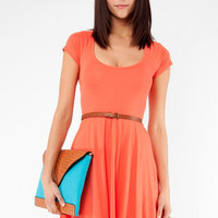 Criss Cross Back Dress in Coral :: tobi
