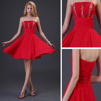 Red Sequin Formal Short Bridal Prom Cocktail Party Evening Dress Tunic Dress