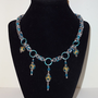 Blue and Brown Glass Bead on a Byzantine Chainmaille Necklace