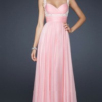 Gorgeous dresses — Gorgeous Pink Pleated Embellished Long Prom Dress