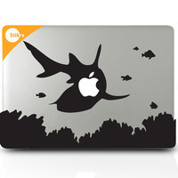 Vinyl MAC DECAL laptop stickers Wall Fish Nautical Geekery Steampunk Aquarium Geekery- Shark Attack- Removable Decal 150