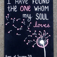 Canvas Painting - Dandelion with hearts - Song of Solomon 3:4