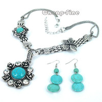 1 Set vintage Flower Turquoise Gemstone Tortoise Tibet Silver Necklace &Earrings