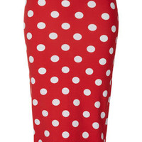 Red Spot Print Tube Skirt - Skirts  - Clothing