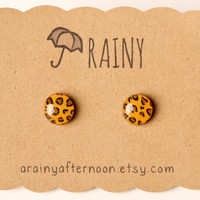 Leopard Print Post Earrings by aRainyAfternoon on Etsy