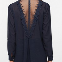 Staring at Stars Lace-Back Chiffon Blouse
