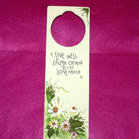 "Wood Sign Wood Door Hanger Painted Personalized Daisy Gift ""Live Well Laugh Often & Love Much"""