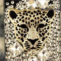 Clean Gem Rhinestone Sparkly iPhone Case Bling Brass Leopard iPhone 4/4s Case iPhone 5 Case, custom Samsung galaxy s3 Case,Galaxy note 2