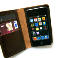 iPhone 4 Wallet Case with Bumper attachment Dark Brown  by leathermix