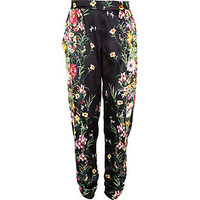 Black floral print ruched tapered trousers