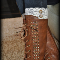 Lace Boot Cuffs - Faux Lace Boot Socks - Faux Lace Leg Warmers - Lace Boot Topper - Faux Knee High Sock - Boot Topper - Women's